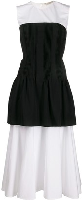 Nina Ricci Pleated Corset Flared Dress