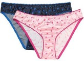 Stella McCartney Knickers Of The Weekend Set Of Two Printed Stretch-silk Satin Low-rise Briefs
