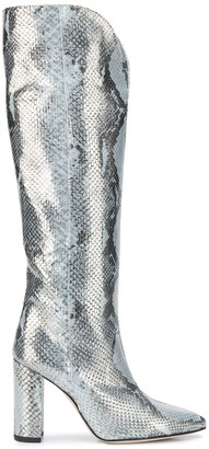 Paris Texas Snakeskin Print Knee-High Boots