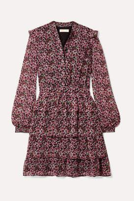 MICHAEL Michael Kors Ruffled Tiered Floral-print Chiffon Mini Dress - Pink