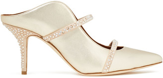 Malone Souliers Maureen Crystal-embellished Suede And Metallic Leather Mules