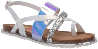 Steve Madden Girls' Sandals MULTI - Silver & Purple Sequin Slicey Sandal - Girls