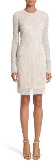 Naeem Khan Women's Caviar Beaded Long Sleeve Sheath Dress