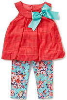Rare Editions Baby Girls 3-24 Months Bow-Applique Top & Floral Leggings Set