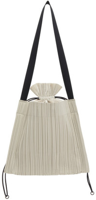 Pleats Please Issey Miyake Taupe Square Pleats Vertical Bag