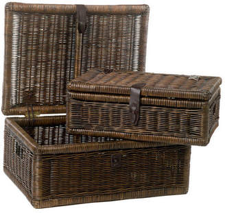 The Basket Lady Covered Wicker Storage Basket, Antique Walnut Brown, Small