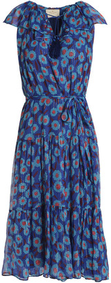 Kate Spade Lame-trimmed Floral-print Silk-blend Georgette Dress