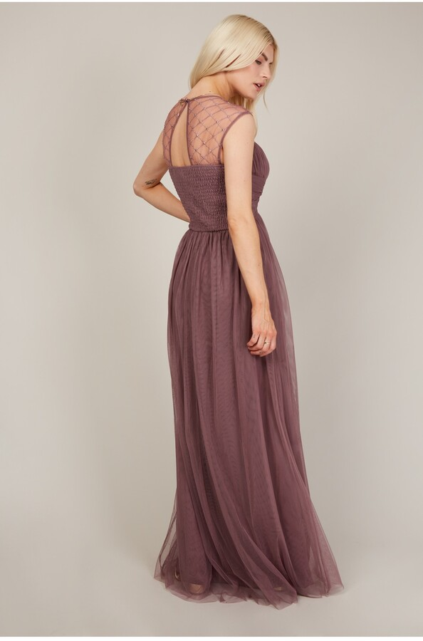 Thumbnail for your product : Little Mistress Bridesmaid Justice Deep Mink Embellished Maxi Dress