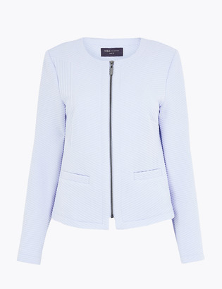 Marks and Spencer Jersey Jacquard Zip Up Short Jacket