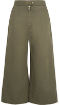 Alexander Wang Cropped Cotton-twill Wide-leg Pants - Army green
