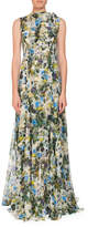 Erdem Kassidy Meadow-Print Silk Tie-Shoulder Gown
