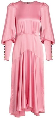 ANNA MASON Eliza Silk Blouson-Sleeve Midi Dress