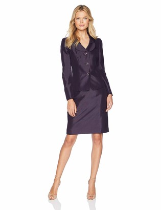 Le Suit LeSuit Women's 3 Button Shawl Collar Shiny Skirt Suit