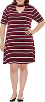 Arizona Short Sleeve Stripe Fit & Flare Dress-Juniors Plus