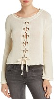 Vintage Havana Lace-Up Crop Sweater