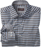 Johnston & Murphy Diagonal Twill Gingham Point-Collar Shirt