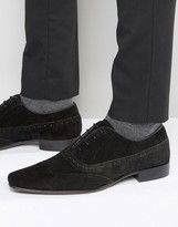 Asos Brogue Shoes In Black Suede