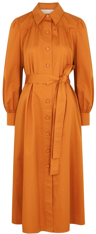 Thumbnail for your product : Tory Burch Artist orange cotton-poplin shirt dress