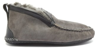 Quoddy Dorm Boot Suede And Shearling Slippers - Mens - Grey