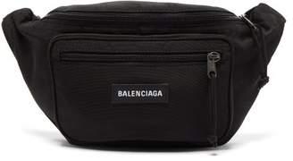 Balenciaga Logo Embroidered Canvas Belt Bag - Mens - Black