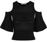 Autumn Cashmere Cold-Shoulder Cropped Pointelle-Knit Top