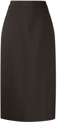 Prada Virgin Wool Tailored Pencil Skirt With Back Slit