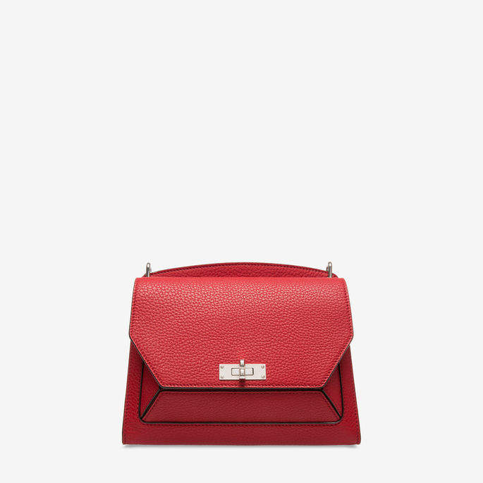 Bally Suzy Medium Red, Women's grained goat leather shoulder bag in corvette