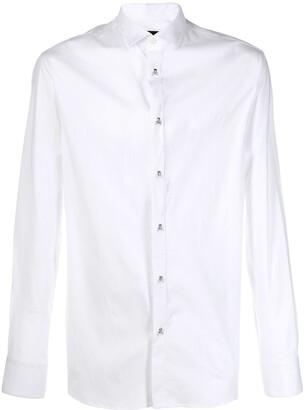 Philipp Plein skull and crossbones button shirt