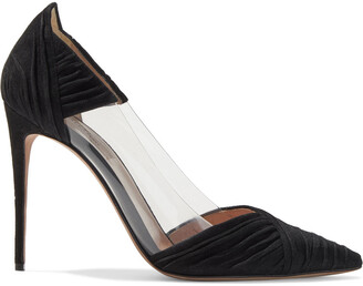 Valentino B-drape Ruched Suede And Pvc Pumps
