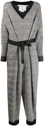 Stella McCartney Patterned-Knit Belted Jumpsuit