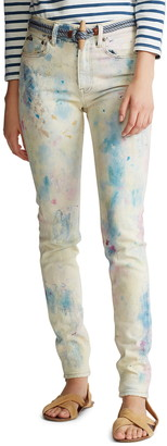 Polo Ralph Lauren Tompkins High Waist Color Splattered Ankle Skinny Jeans