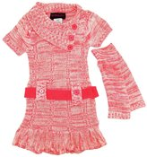 Dollhouse Little Girls Ruffled Belted Cardigan Sweater Dress with Arm Warmers