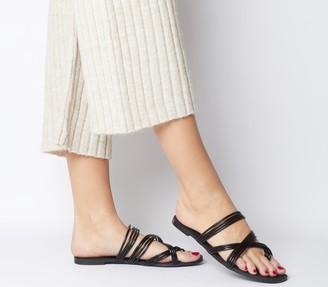 Office Snazzy Strippy Sandals Black