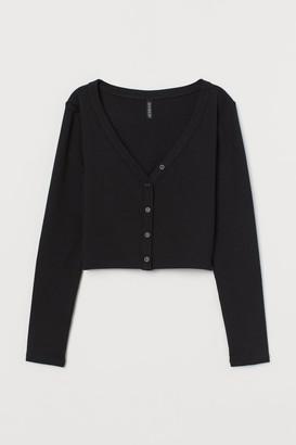 H&M V-neck Jersey Top - Black