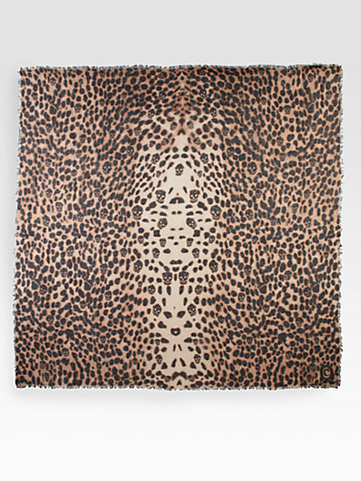Alexander McQueen Wool & Silk Leopard Skull Shawl