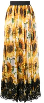 Dolce & Gabbana Sunflower Print Long Skirt