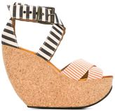 Mini Market Minimarket - 'Wati' wedge sandals - women - Cotton/Leather/rubber - 38