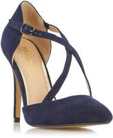 Head Over Heels by Dune CANDICE - NAVY Cross Strap Pointed Toe Pump