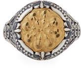 Konstantino Flower-Embossed 18K & Sterling Silver Signet Ring, Size 7