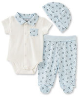 Absorba Three-Piece Penguin Printed Bodysuit, Footed Pants and Cap Set
