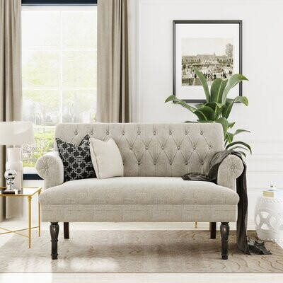 """Thumbnail for your product : Alcott Hill Colquitt 58.27"""" Rolled Arm Chesterfield Loveseat"""