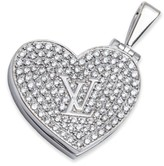 Louis Vuitton Diamond Heart Locket 18K White Gold Pendant