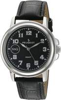 Peugeot Men's 'Bluetooth Smart Connected' Quartz Metal and Leather Dress Watch, Color:Black (Model: LQ1003BK)