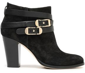 Jimmy Choo Melba 80 Buckled Suede Ankle Boots