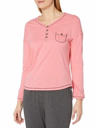 Karen Neuburger Women's Long Sleeve Top Pajama Shirt Pj Spiced Coral S