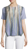 Prabal Gurung Jewel-Neck Short-Sleeve Blouse, Midnight Purple