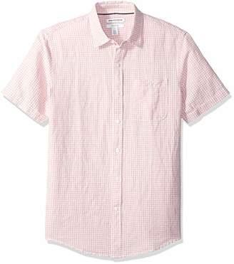 Amazon Essentials Slim-Fit Short-Sleeve Gingham Linen Shirt Button,US (EU )