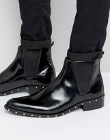 Asos Chelsea Boots In Black Leather With Stud Sole Detail