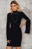 Open Sleeve High Neck Dress