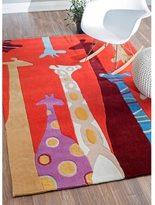 nuLoom Handmade Kids Giraffes Red Rug (3'6 x 5'6)